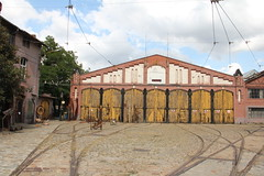 Disused MPK tram depot , Wrocław 10.09.2015 (szogun000) Tags: old city urban building brick architecture yard canon cityscape tracks poland polska cobbled disused wrocław lowersilesia dolnośląskie dolnyśląsk canoneos550d canonefs18135mmf3556is