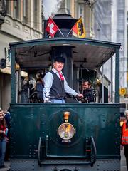 265/365: Steam Tram (haslo) Tags: street happy schweiz switzerland ancient candid tram olympus flags steam driver bern trams omd 125 em1 project365 bernmobil dampftram 100x2015 115in2015