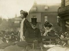 Emmeline Pankhurst speaking to a crowd, c.1910.