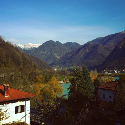 View from the window this morning, snow in the mountains. #soca #isonzo #alpine #river #turquoise #water #lake #hills #mountains #alps #snowy #hilltop #mostnasoci #socavalley #slovenia #igslovenia #igposocje