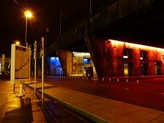 Trois alvoles de la base sous-marine de Saint-Nazaire sont claires en bleu-blanc-rouge,en hommage aux victimes du 13 novembre 2015  Paris. (CorcuffR) Tags: paris france rouge marine bleu hommage blanc base sous nazaire attentat 131115