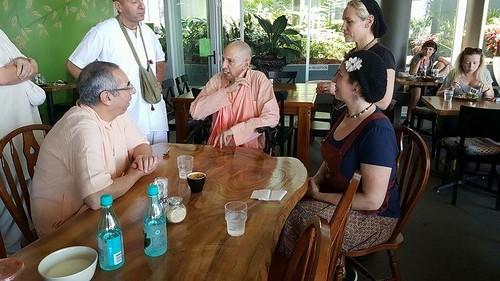 With Niranjana Swami And Mukunda Goswami
