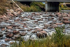 The North Platte River winds its way through Denver, CO.