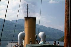 On board 'Maid of the Loch' -  turning from Inversnaid. Jul'77. (David Christie 14) Tags: lochlomond maidoftheloch inversnaid
