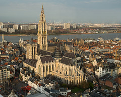 Antwerp Cathedral (beeveephoto) Tags: city roof sky panorama tower industry church water skyline sunrise river cityscape rooftops cathedral belgium outdoor gothic churchtower medieval kbc antwerp schelde 1735mmf28d flanders scheldt kbctower nikond800e nikkor1735mmf28afsdifed