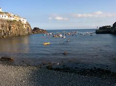 Shore at Câmara de Lobos (CarlosLuso) Tags: madeira portugal summer blue sky câmara lobos chamber wolfs landscape sea ocean coast shore boats atlantic