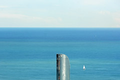 Mediterranean sea,  Barcelona (cpcmollet) Tags: barcelona blue mediterranean sea mar mediterrneo water agua hotel w landscape calm beauty interesting flickr nikon catalonia spain sky cielo building europe bcn litoral
