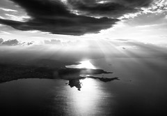Sunrise from above (Chacky) Tags: sunrise took plane flying from bulgaria greece flight blackandwhite bw black sun light canon canon600d europe sea kandscape landscape ocena