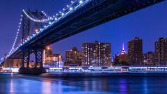 Manhattan Bridge Night (David J. Batista) Tags: manhattanbridge longexposure eastriver empirestatebuilding bridges architecture