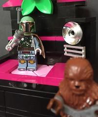 Boba relaxing after a succesful day at work (askansbricks) Tags: lego starwars legostarwars bobafett boba fett chewbacca