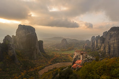 Meteora (billpeppasphotography) Tags: meteora monastery monasteries church god religion faith valley rock rocky rocks greece hellas autumn fall cloud cloudy clouds sun sunshine sunrays rays ray godrays cliff cliffs formation formations kalampaka kalambaka kalabaka thessaly thessalia thesalia light golden