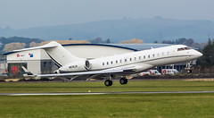 N626JS Private Bomardier Canadair Global Express @ Exeter Airport, Devon. (Sw Aviation) Tags: n626js private gulfstream aerospace gv v exeter airport devon bizjet business jet avgeek aviation planes airplane aircraft bombardier global express