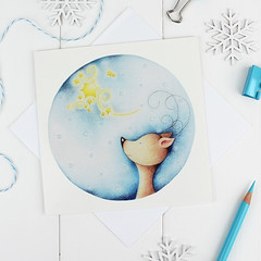 Once Upon a Starry Night Christmas Card (jac.cheekymonkeystudio) Tags: christmas christmascard xmascard holidaycard whimsical cute kidschristmas cutechristmas whimsicalchristmas animals whimiscalanimals reindeer star stationary stationery
