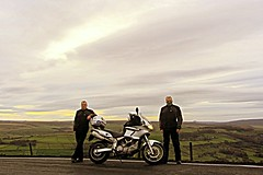 Smiling! (Well one of us is!) (Mike-Lee) Tags: cagivanavigator1000 cagiva bike motorbike nov2016 mike highbradfield handlebarmitts warm chilly mitts clone bikerclones cloningabout clones smile