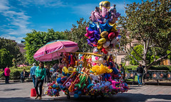 2016 - Mexico - San Luis Potosi - So Mexico (Ted's photos - Returns late December) Tags: 2016 cropped mexico nikon nikond750 nikonfx sanluispotosi tedmcgrath tedsphotos tedsphotosmexico vignetting balloons sanluispotosiphotos pail bucket red redrule benches seating seated seat park plazadearmas plazadearmassanluispotosi denim shadows shadow outdoor parkbench parkscene cityview people peopleandpaths umbrella