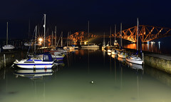 old harbour (UndaJ) Tags: harbour boats reflections night queensferry bridge forth