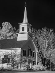 PB220485 - Wilton Church (Syed HJ) Tags: olympusomdem5 olympusem5 olympus em5 fujian35mmf16 fujian35mm fujian 35mm cctvlens blackandwhite bw blackwhite infrared ir 850nm rural ruralamerica church wilton wiltonnh nh