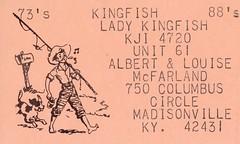 Kingfish & Lady Kingfish - Madisonville, Kentucky (73sand88s by Cardboard America) Tags: qsl qslcard cb cbradio vintage kentucky fishing dog