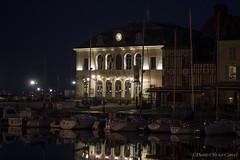 36-Honfleur (Pierrokaphoto) Tags: nuit colombages mairie reflets bateaux voiliers horloge