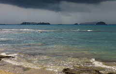 Waterspout (Licran) Tags: mayotte sea cloud sky water island beach boat sand mer nuage ciel plage sable bateau trombe waterspout