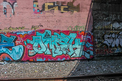 Omek (NJphotograffer) Tags: new railroad bridge graffiti nj rail jersey graff trackside ogc omek