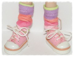 Tall Pastel Rainbow Wide Striped Socks For Blythe....