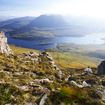 View from Stac Pollaidh towards Loch Lurgainn and Ben Mor Coigach in Assynt, Sutherland, Scottish Highlands, UK thumbnail