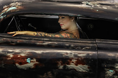 Stopping Traffic (Culture Shlock) Tags: street girls people color cars vintage women paint traffic painted tattoos lowrider lowered automobiles pinups