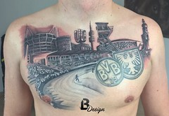 (Lszlo Bdi (LACI) Tattoo & Airbrush Artist) Tags: city man male tattoo germany football chest 09 stadion dortmund bvb borussia