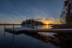 A moment of quietude (jarnasen) Tags: morning trees sky sun lake snow cold colour ice water clouds sunrise landscape island dawn early frost december mood fuji sweden jetty low tripod perspective atmosphere wideangle calm multipleexposure nordic sverige colourful fujinon tranquil hdr scandinavian sunstar frosen 10mm vrdns photomatix xt1 fujifilmxt1 xf1024mmf4