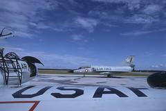 72510 F-106B Delta Dart framed by a T-33 on the Tyndall AFB flightline (AirliftOps) Tags: tac usaf tyndall convair f106 deltadart adwc f106b