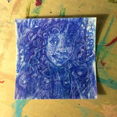 Turn turn turn - rotate 180 (inklings and imprints) Tags: art pencil watercolor painting faces drawing originalart small mini hidden colored psychedelic coloredpencil
