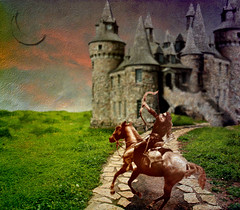 Shoot the Moon (Calsidyrose) Tags: moon castle photoshop artwork dream manipulation textures fantasy target layers archery archer magical horseback enchanted archetype digtital katniss