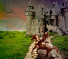 Shoot the Moon (Calsidyrose) Tags: moon castle photoshop artwork dream manipulation textures fantasy target layers archery archer magical horseback enchanted archetype digtital katniss