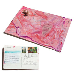 A Mail Art Miracle! (tofuart) Tags: mailart pink baby mixedmedia usps postcard