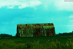 Tin Roof Rusted (SCOTTS WORLD) Tags: adventure abandoned architecture america august blue building bluesky rural rusty rainy sky shadow sunlight summer stormy brown blight barn roof theb52s loveshack green grass fun flowers weathered weeds light landscape panasonic pov perspective farm usa unitedstates michigan midwest nature clouds country crusty trees texture