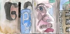 die Welt die goldene Schpfung und der Mensch das Spiegelbild seines Schpfers, wer wohl auf diese Idee gekommen war (raumoberbayern) Tags: sketchbook skizzenbuch tram munich mnchen bus strasenbahn herbst winter fall pencil bleistift paper papier robbbilder stadt city landschaft landscape rot red