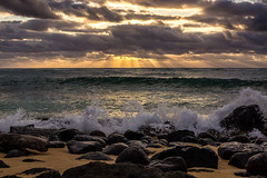 Kauai Sunrise 2015-2 (Kaua'i Dreams) Tags: hawaii kauai ocean waves pacific sunrise sun clouds water rocks crashingwaves lavarocks beach sand
