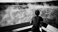 Yellowstone #3 (. Jianwei .) Tags: grandprismaticspring yellowstone fog lake travel kid backview