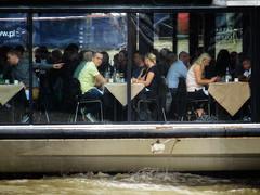 Diners Afloat (garryknight) Tags: bateauxlondon cybershot dschx60v lightroom london ononephoto10 sony boat cruise cruiseboat dine diners drink eat restaurant wine