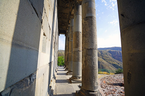 The colonnade of Garni Temple, Armenia