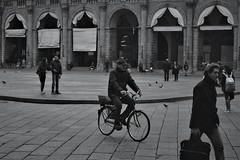 The cyclist in the fog (nene92) Tags: bycicle cyclist monocromatic bologna italy