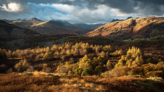 Across Hodge Close (In Explore) (Dave Fieldhouse Photography) Tags: lakedistrict clouds cumbria cumbrianmountains lingmorefell landscape langdale langdalepikes fells crinklecrags mossriggwood hodgeclose autumn placefell bleatarn lightandshade fuji fujixt2 fujifilm explored inexplore