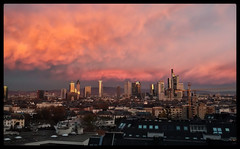 Good Morning, Frankfurt. (dominidomk) Tags: frankfurt skyline himmel sundawn hessen germany absteiger skyscraper wolkenkratzer building trme hochhuser city bank town center rheinmain metropole