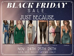 Black Friday Sale - Just BECAUSE! (Just BECAUSE_SL) Tags: sale 50 off jb just because sl secondlife black friday mainstore blueberry vinyl addams breathe reign