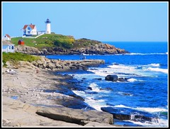 Nubble Light - Photo Taken by STEVEN CHATEAUNEUF On August 27, 2014 (snc145) Tags: ocean summer vacation sky usa lighthouse water fun photo sand rocks waves seasons maine cliffs soe nubblelight yorkbeach autofocus 2014 flickrunitedaward stevenchateauneuf