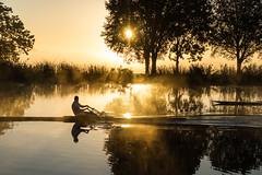 Rower (genf) Tags: trees sun mist amsterdam silhouette fog sunrise river bomen mood shadows sony atmosphere row zon amstel silhouet rower zonsopgang a77 ouderkerk sfeer atmosfeer