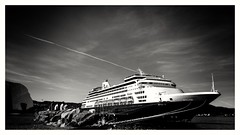 Spotting (burgerno) Tags: sea summer blackandwhite bw norway clouds phonecam norge ship shore cruiseship phonecamera trondheim moored norja ryndam snapseed lgg4 lgh815