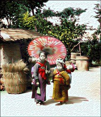 Processed Recursive Baby Sitting in Japan (sjrankin) Tags: japan umbrella children japanese edited historic handcolored babysitter processed filtered 9october2015
