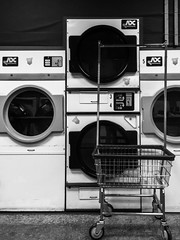 laundromat (jojoannabanana) Tags: blackandwhite monochrome machine laundry cart washingmachine laundromat dryer canonpowershot s100 3652015